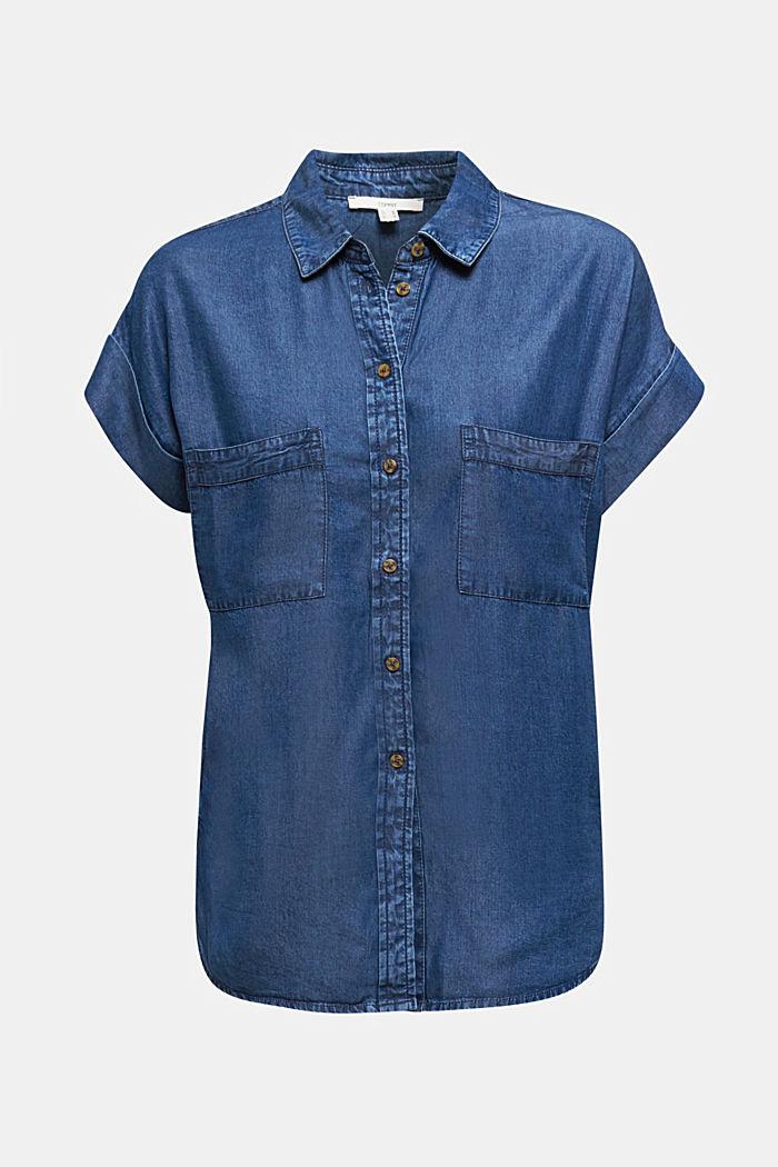 Van TENCEL™: blouse met zakken, BLUE DARK WASHED, detail image number 7