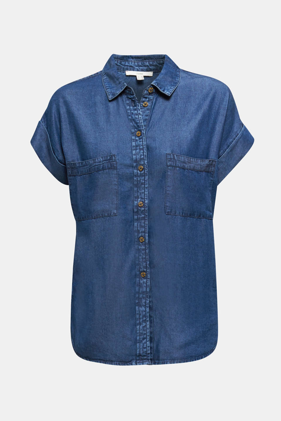 Made of TENCEL™: Blouse with pockets, BLUE DARK WASH, detail image number 7