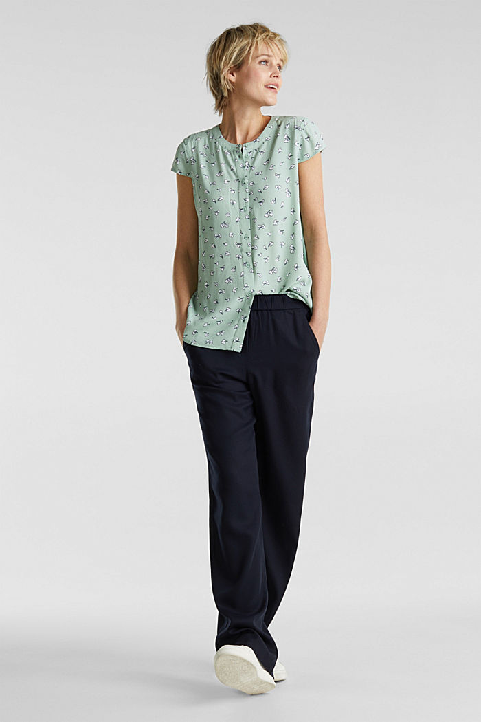 Blouse top made of LENZING™ ECOVERO™, LIGHT AQUA GREEN, detail image number 1