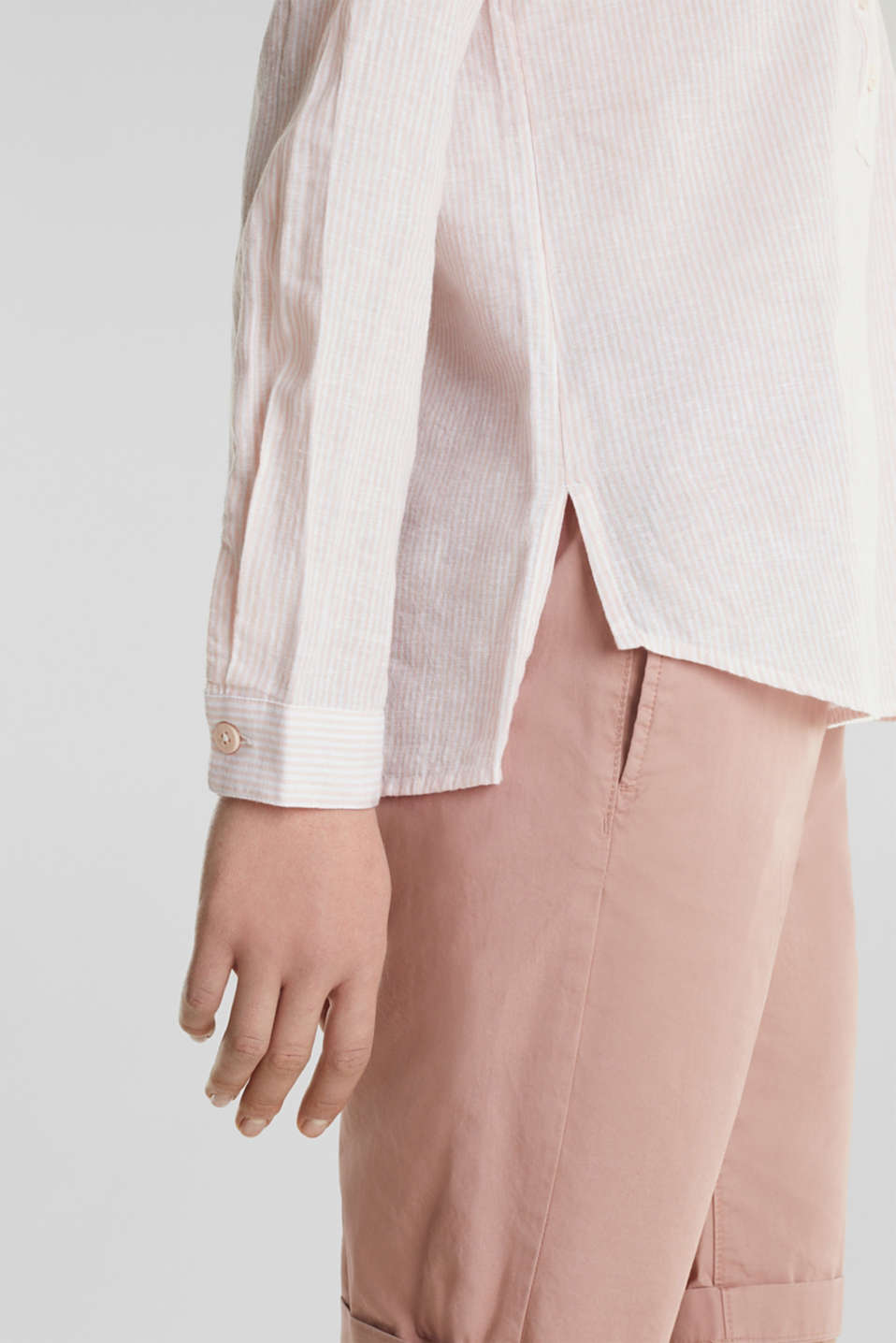 Linen blend: blouse with stripes, PEACH 4, detail image number 2