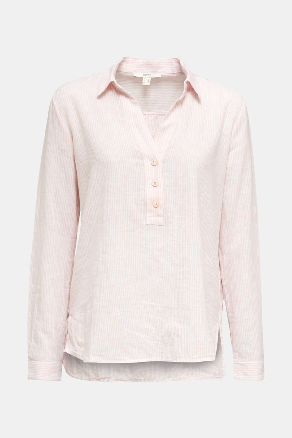 Linen blend: blouse with stripes, PEACH 4, detail image number 7