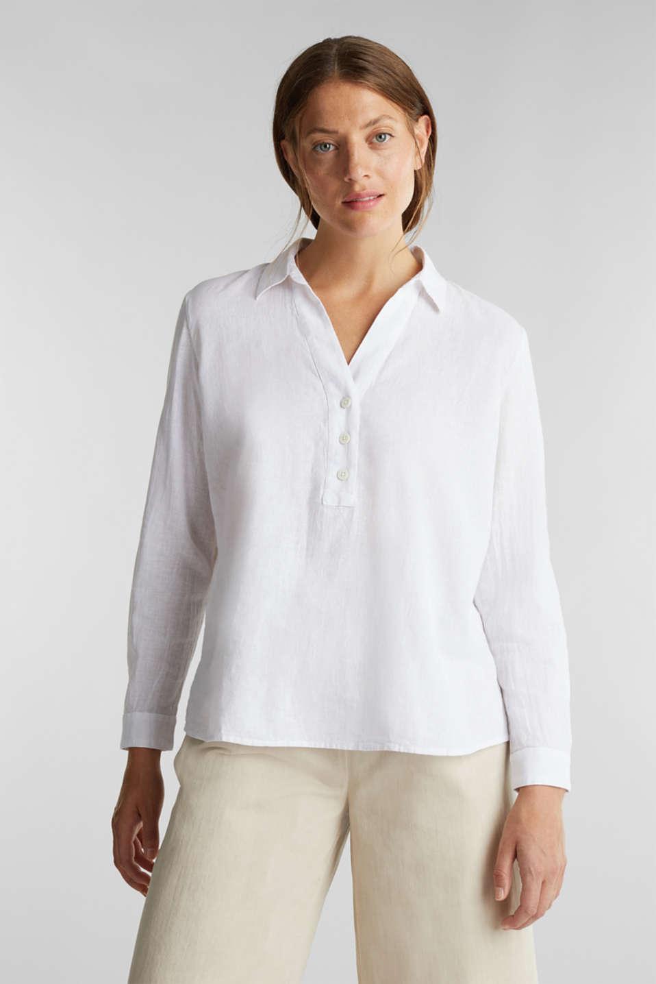 Slip-on blouse in blended linen, WHITE, detail image number 0