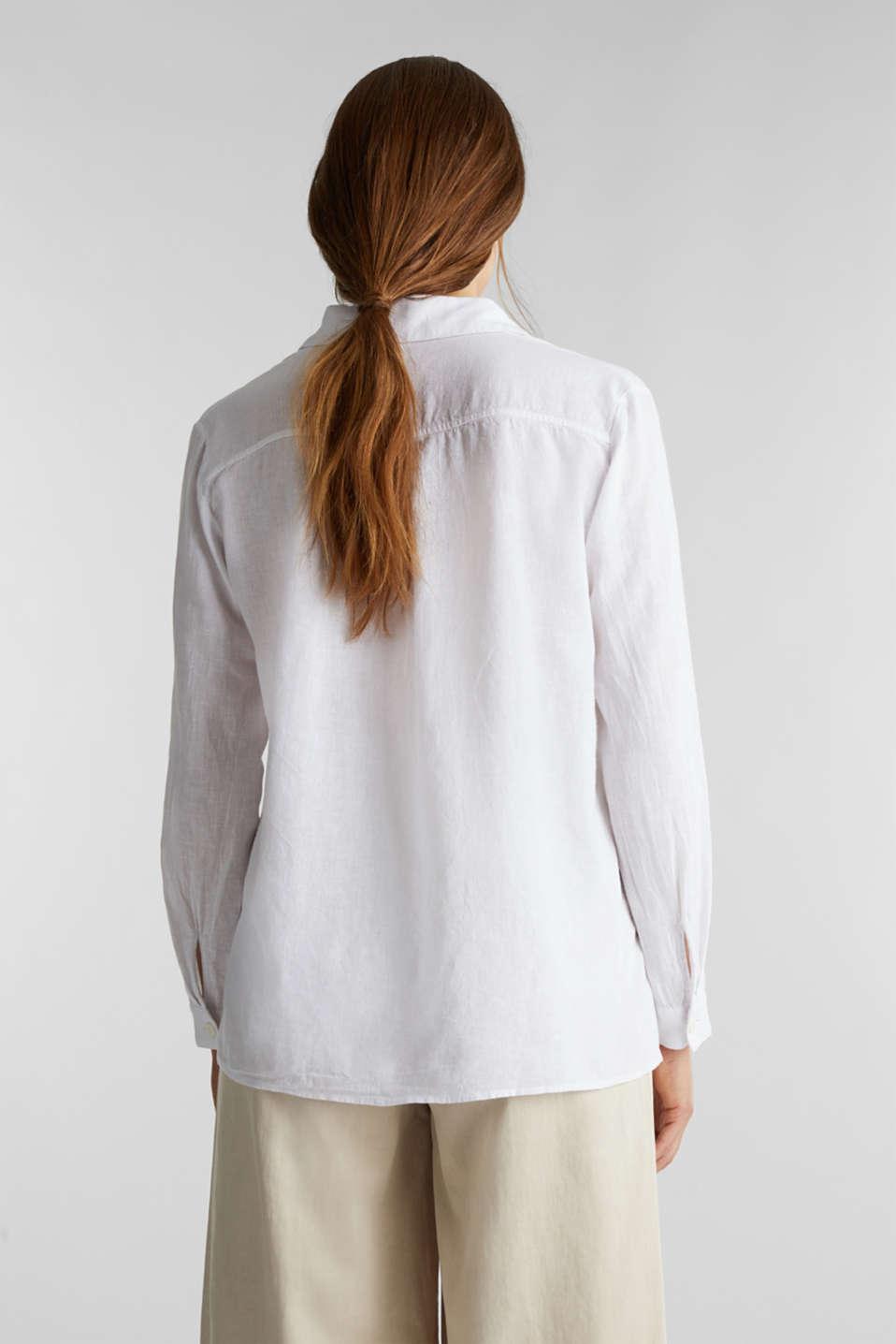 Slip-on blouse in blended linen, WHITE, detail image number 3