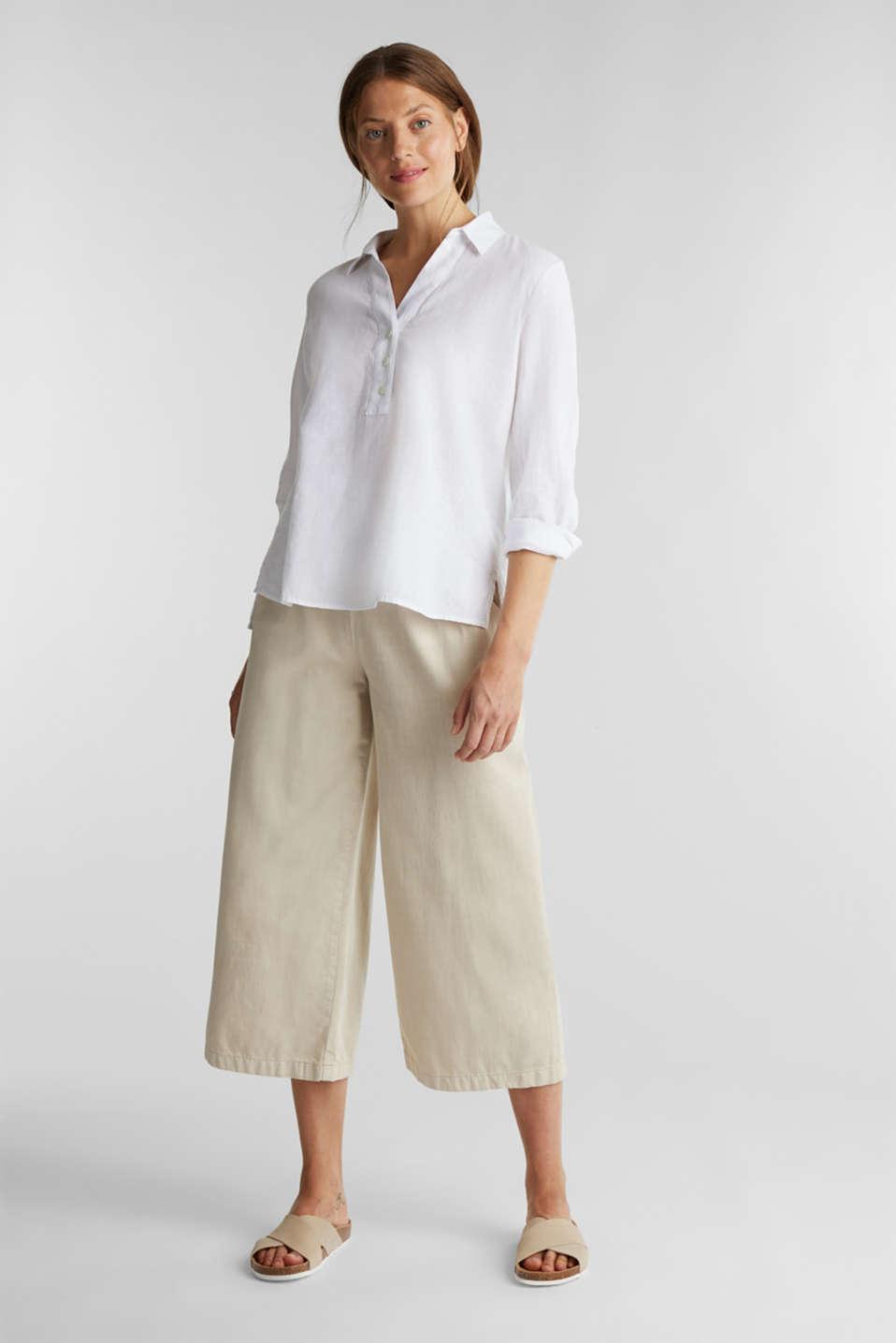 Slip-on blouse in blended linen, WHITE, detail image number 1
