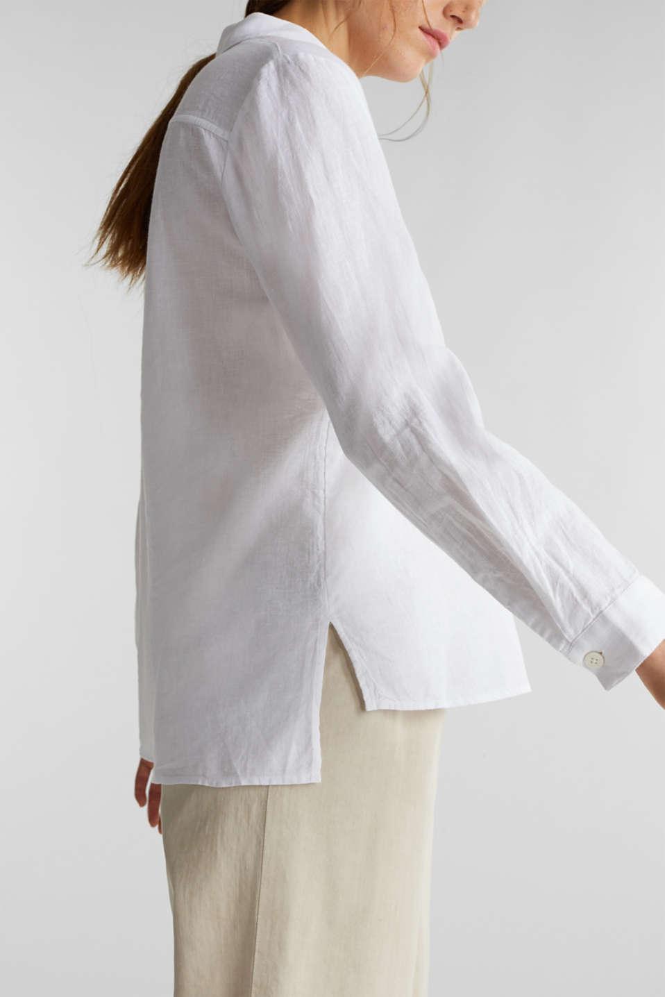Slip-on blouse in blended linen, WHITE, detail image number 2