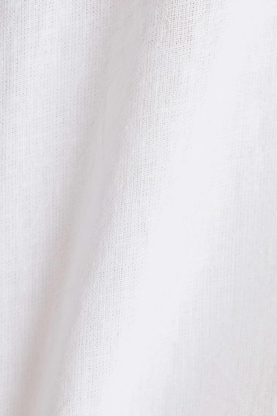 Slip-on blouse in blended linen, WHITE, detail image number 4