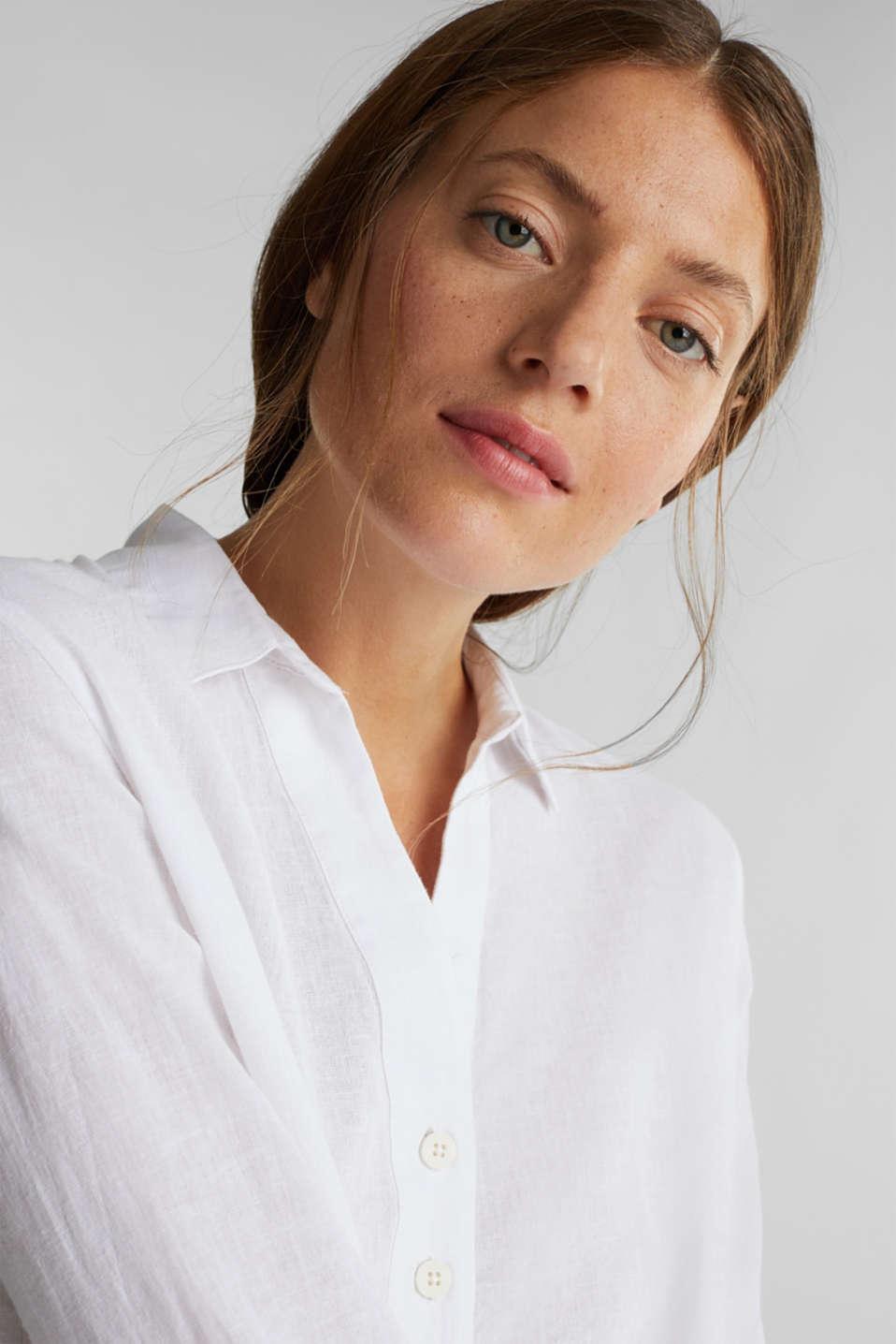 Slip-on blouse in blended linen, WHITE, detail image number 6