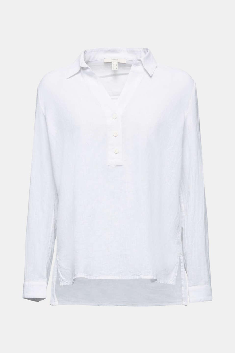 Slip-on blouse in blended linen, WHITE, detail image number 7