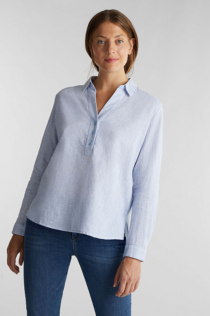 Slip-on blouse in blended linen, LIGHT BLUE, detail image number 0