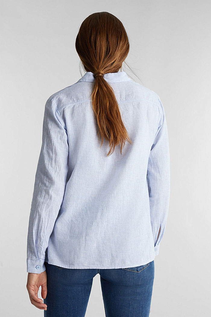 Slip-on blouse in blended linen, LIGHT BLUE, detail image number 3