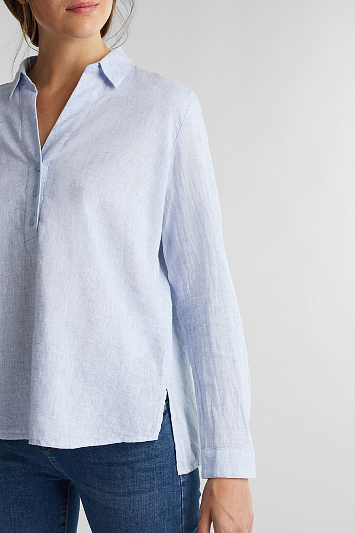 Slip-on blouse in blended linen, LIGHT BLUE, detail image number 2