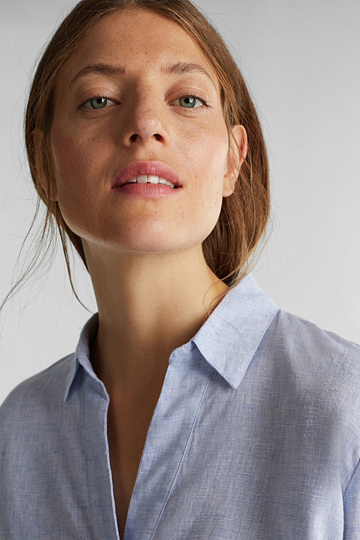 Slip-on blouse in blended linen, LIGHT BLUE, detail image number 5