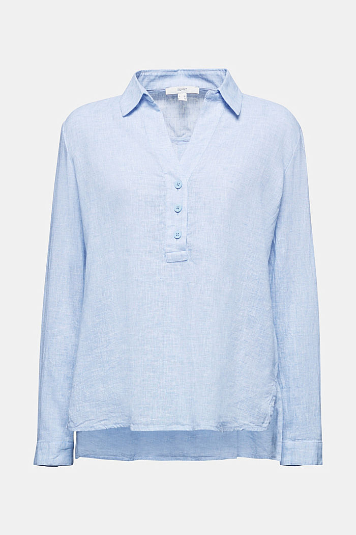 Slip-on blouse in blended linen, LIGHT BLUE, detail image number 6
