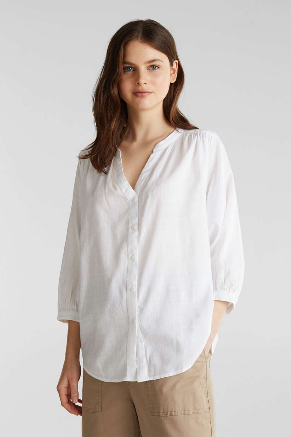 Textured blouse with batwing sleeves, WHITE, detail image number 0