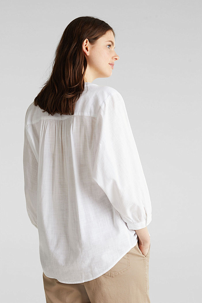 Textured blouse with batwing sleeves, WHITE, detail image number 3