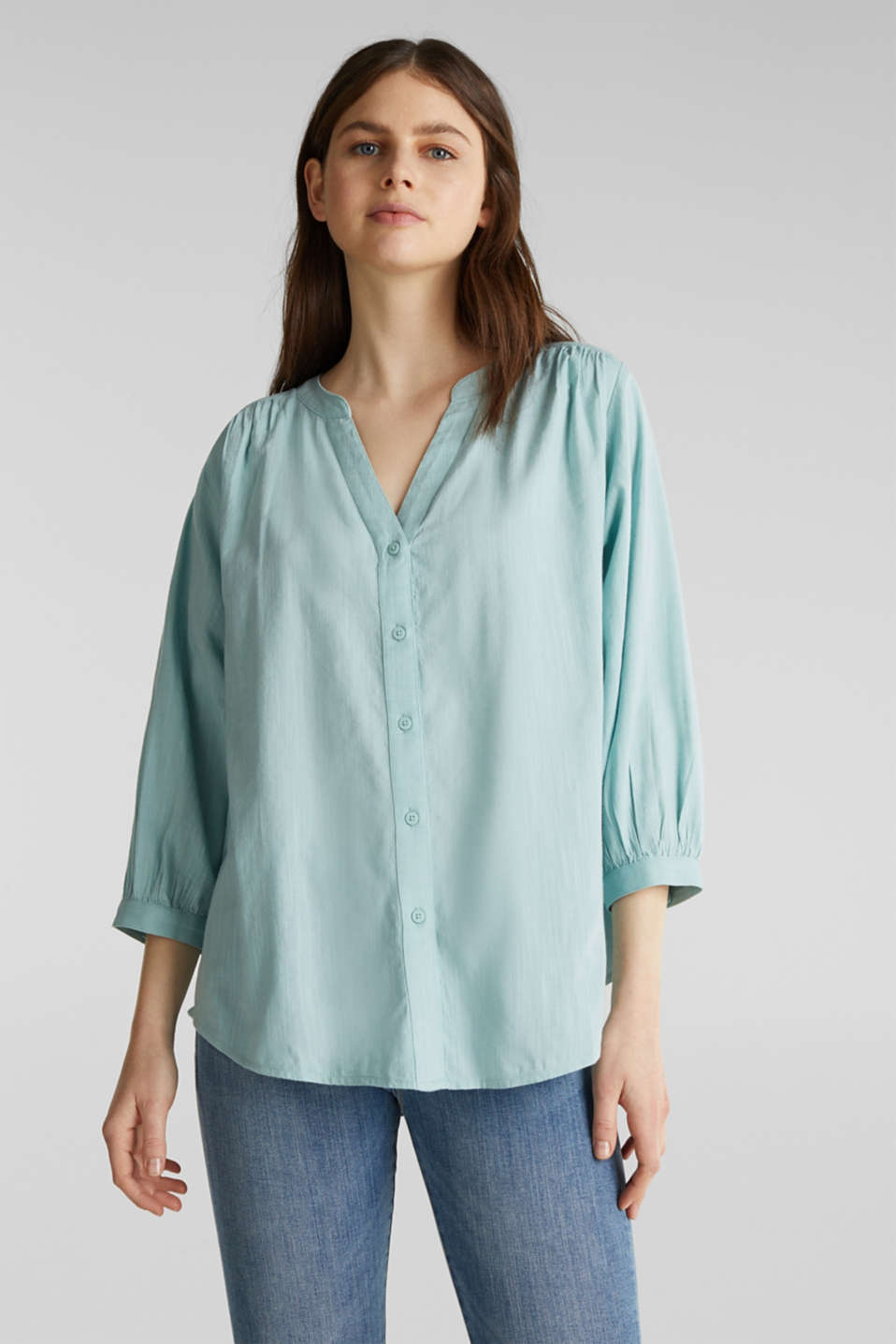 Textured blouse with batwing sleeves, LIGHT AQUA GREEN, detail image number 0