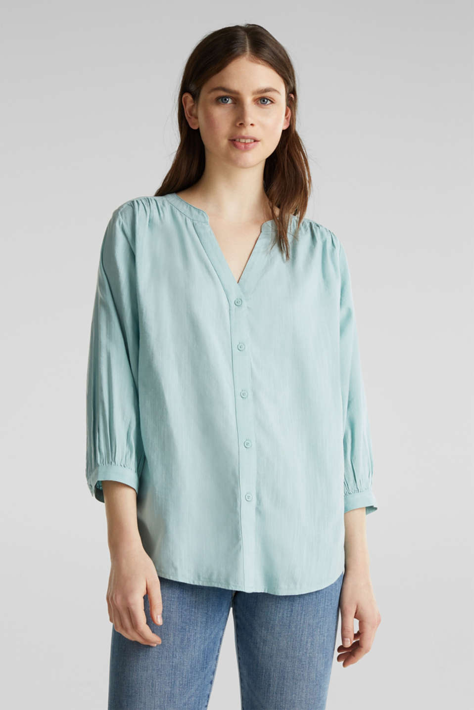 Textured blouse with batwing sleeves, LIGHT AQUA GREEN, detail image number 5