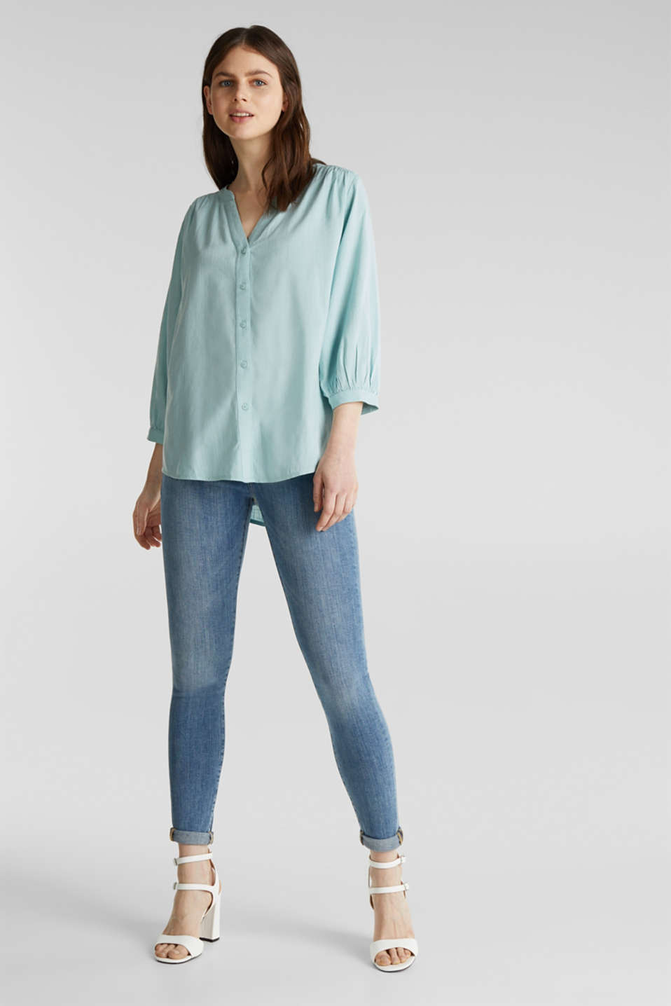 Textured blouse with batwing sleeves, LIGHT AQUA GREEN, detail image number 1