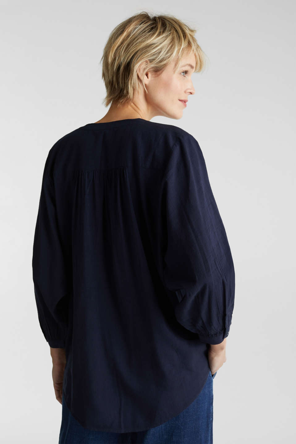 Textured blouse with batwing sleeves, NAVY, detail image number 3