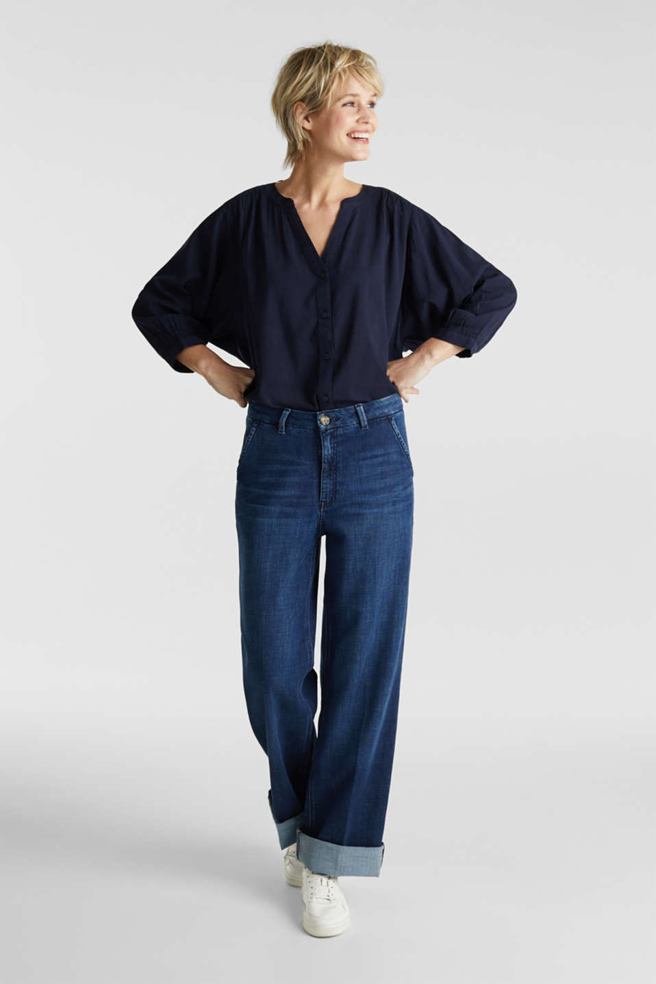Textured blouse with batwing sleeves, NAVY, detail image number 5