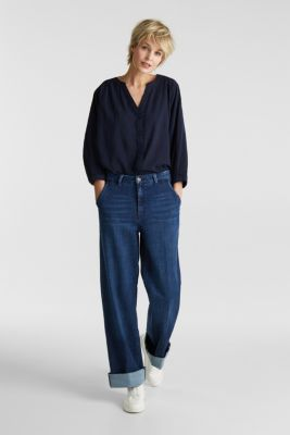 Textured blouse with batwing sleeves, NAVY, detail