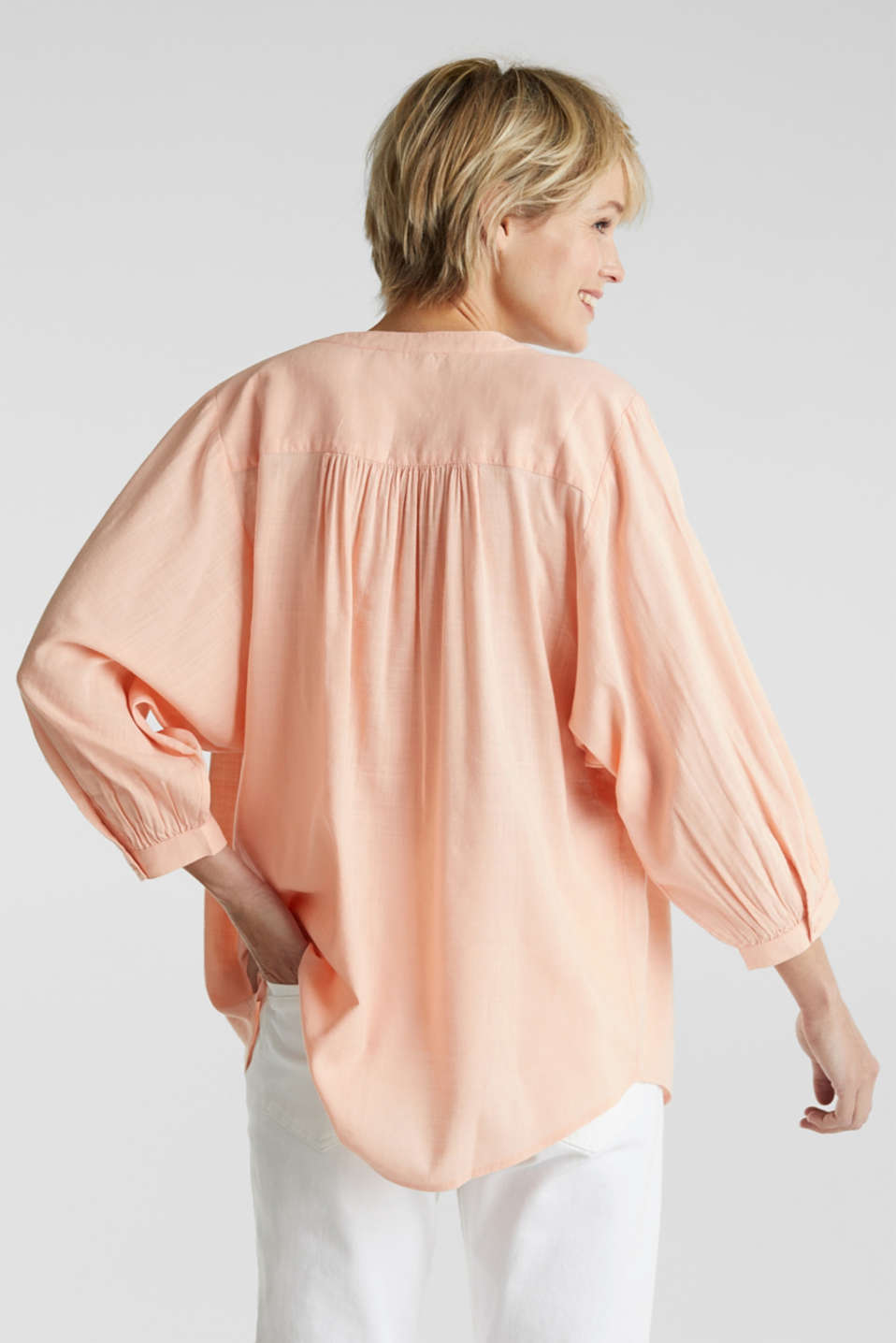 Textured blouse with batwing sleeves, PEACH, detail image number 3