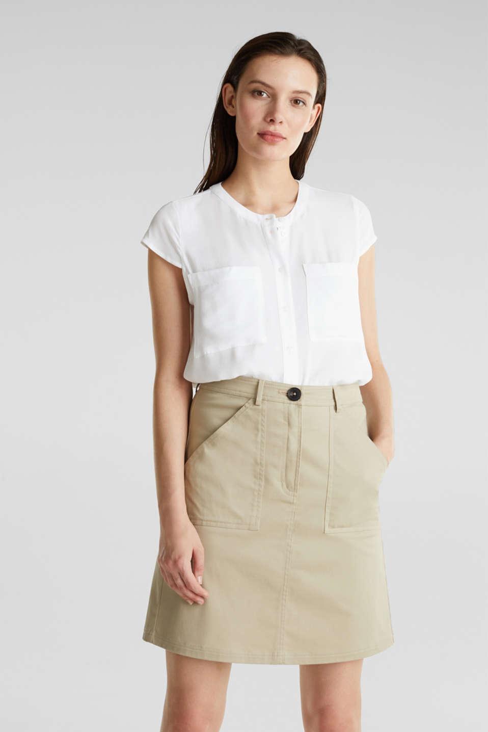 Crêpe blouse, LENZING™ ECOVERO™, WHITE, detail image number 0