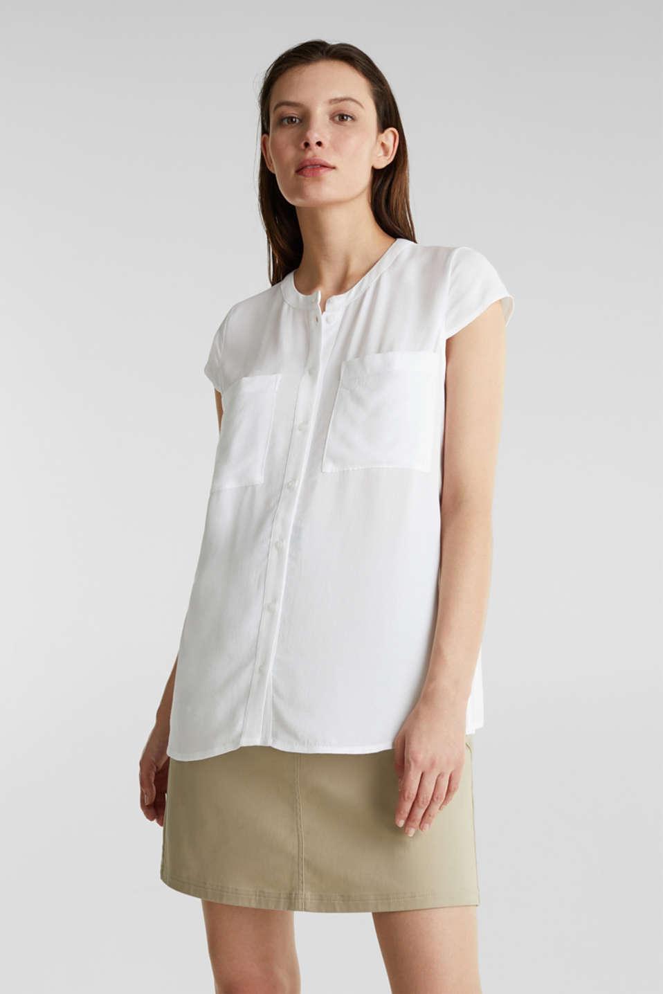 Crêpe blouse, LENZING™ ECOVERO™, WHITE, detail image number 5