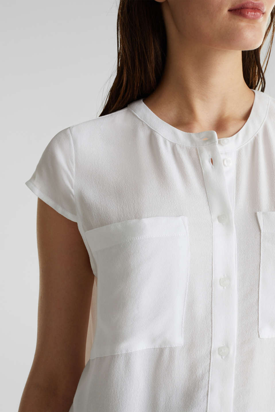 Crêpe blouse, LENZING™ ECOVERO™, WHITE, detail image number 2