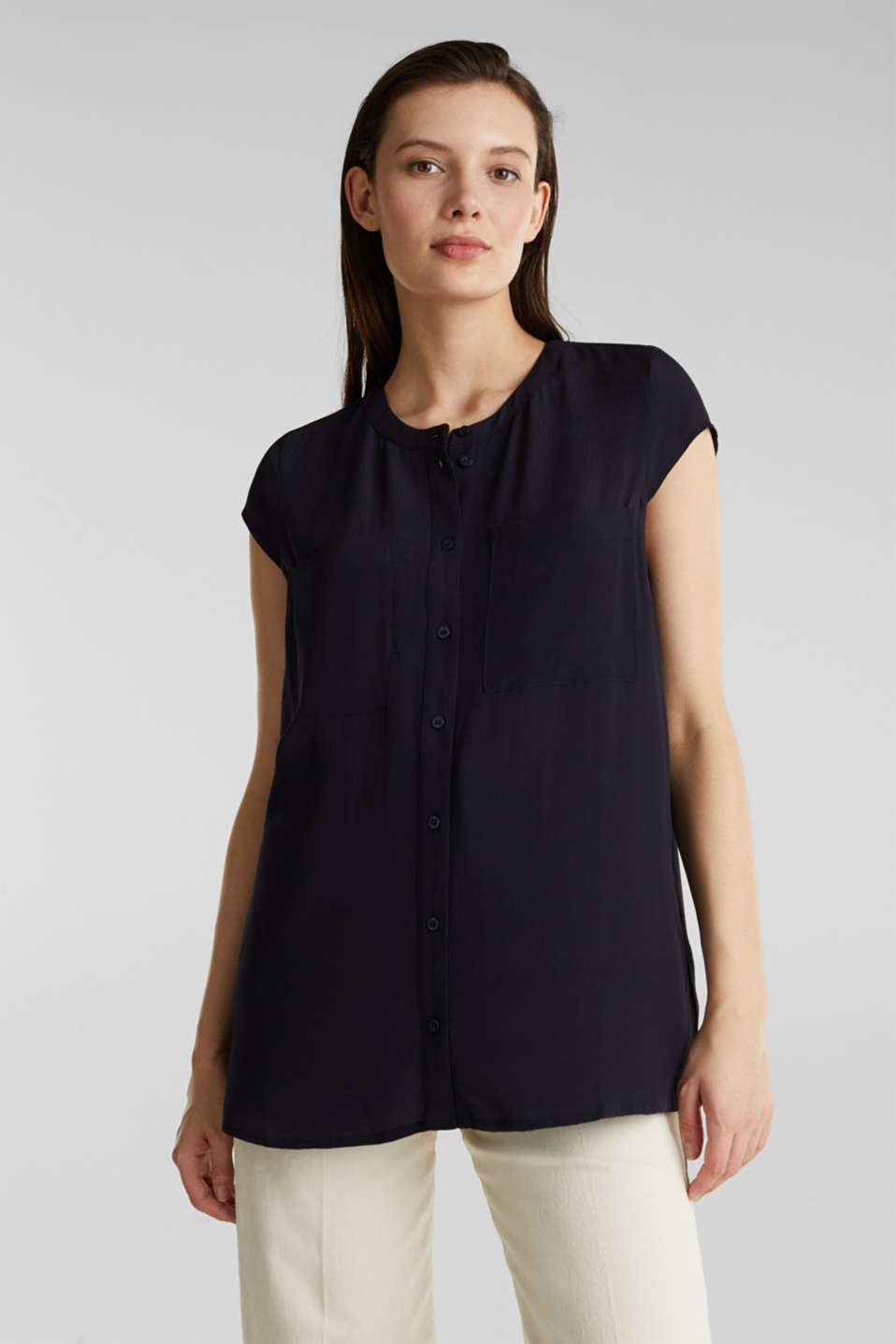 Crêpe blouse, LENZING™ ECOVERO™, NAVY, detail image number 0