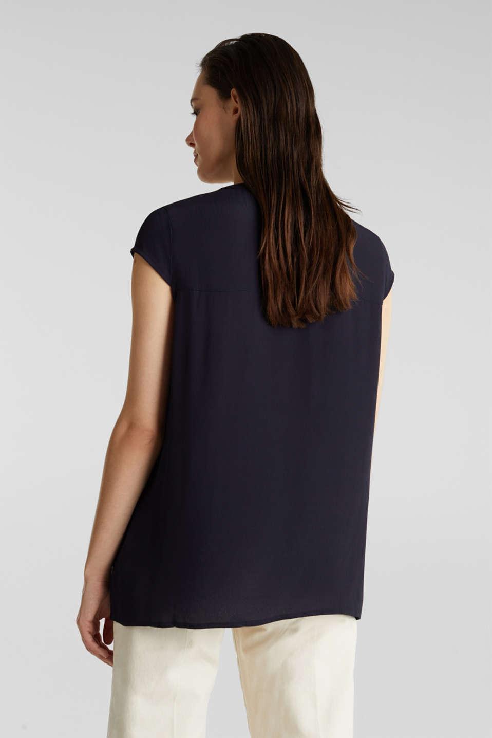 Crêpe blouse, LENZING™ ECOVERO™, NAVY, detail image number 3