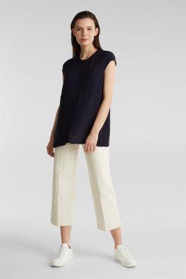 Crêpe blouse, LENZING™ ECOVERO™, NAVY, detail