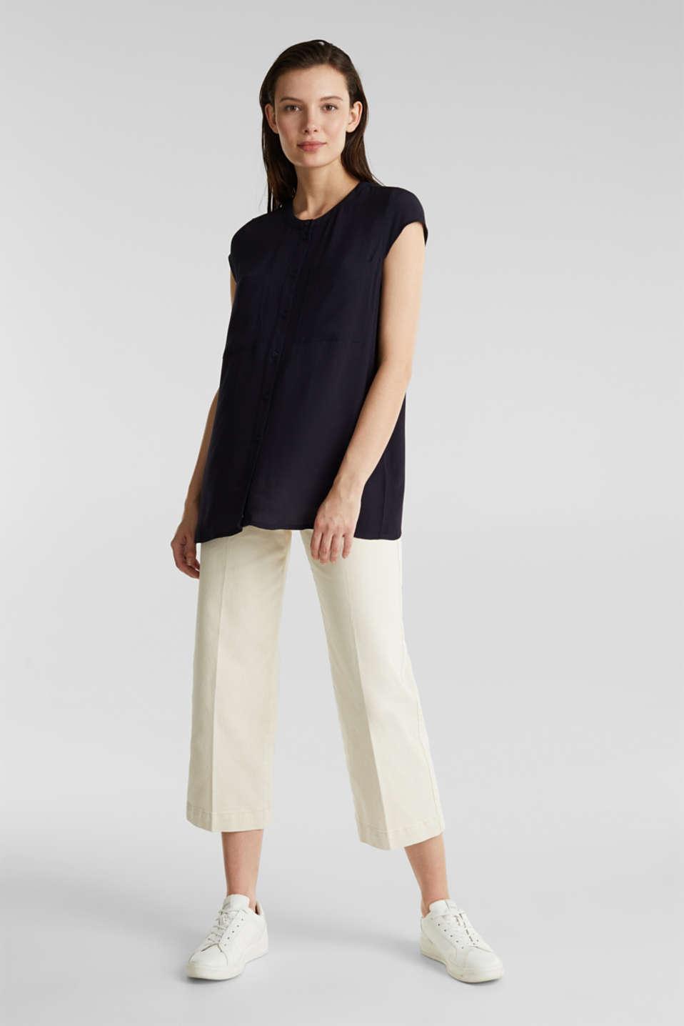 Crêpe blouse, LENZING™ ECOVERO™, NAVY, detail image number 1