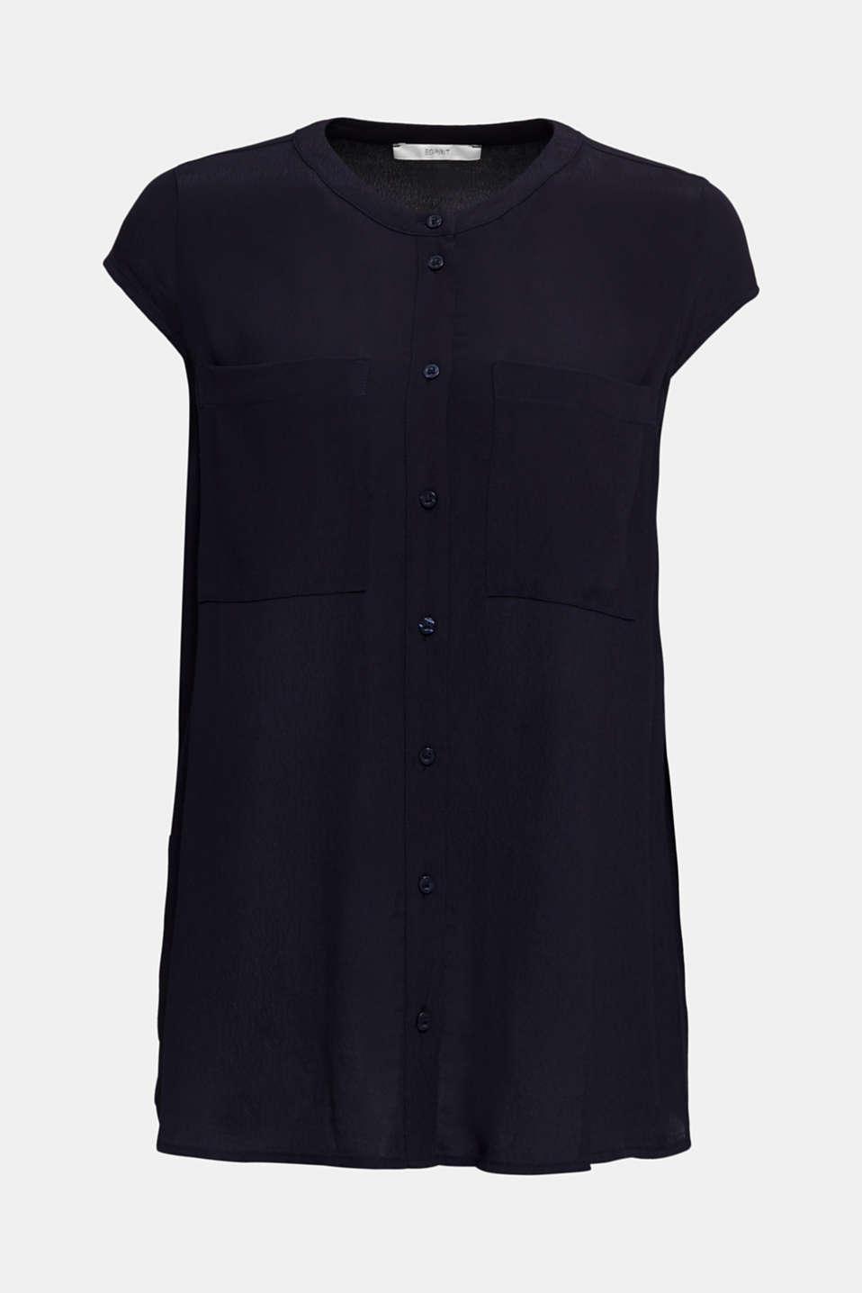 Crêpe blouse, LENZING™ ECOVERO™, NAVY, detail image number 6