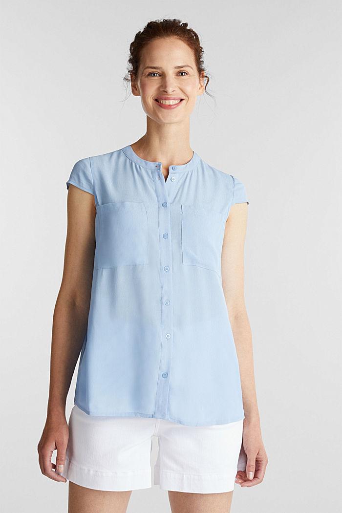 Crêpe-Bluse, LENZING™ ECOVERO™, LIGHT BLUE, detail image number 0