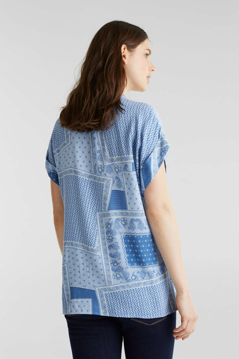 Blouse top in crêpe with a mixed pattern, LIGHT BLUE 4, detail image number 3