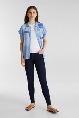 Blouse top in crêpe with a mixed pattern, LIGHT BLUE 4, detail