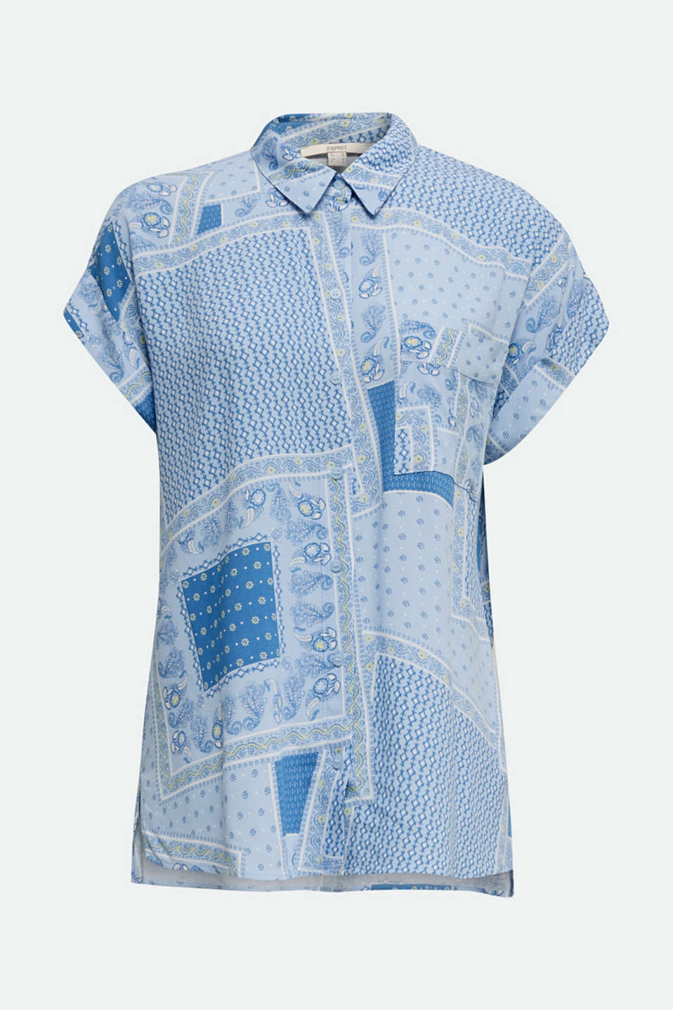 Blouse top in crêpe with a mixed pattern, LIGHT BLUE 4, detail image number 5