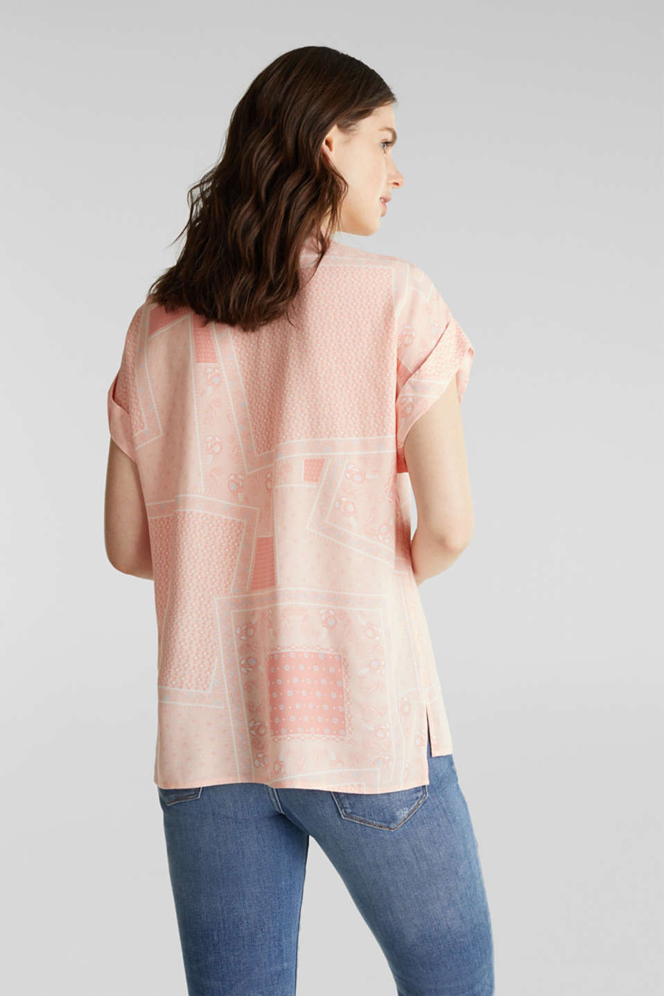 Blouse top in crêpe with a mixed pattern, PEACH 4, detail image number 3