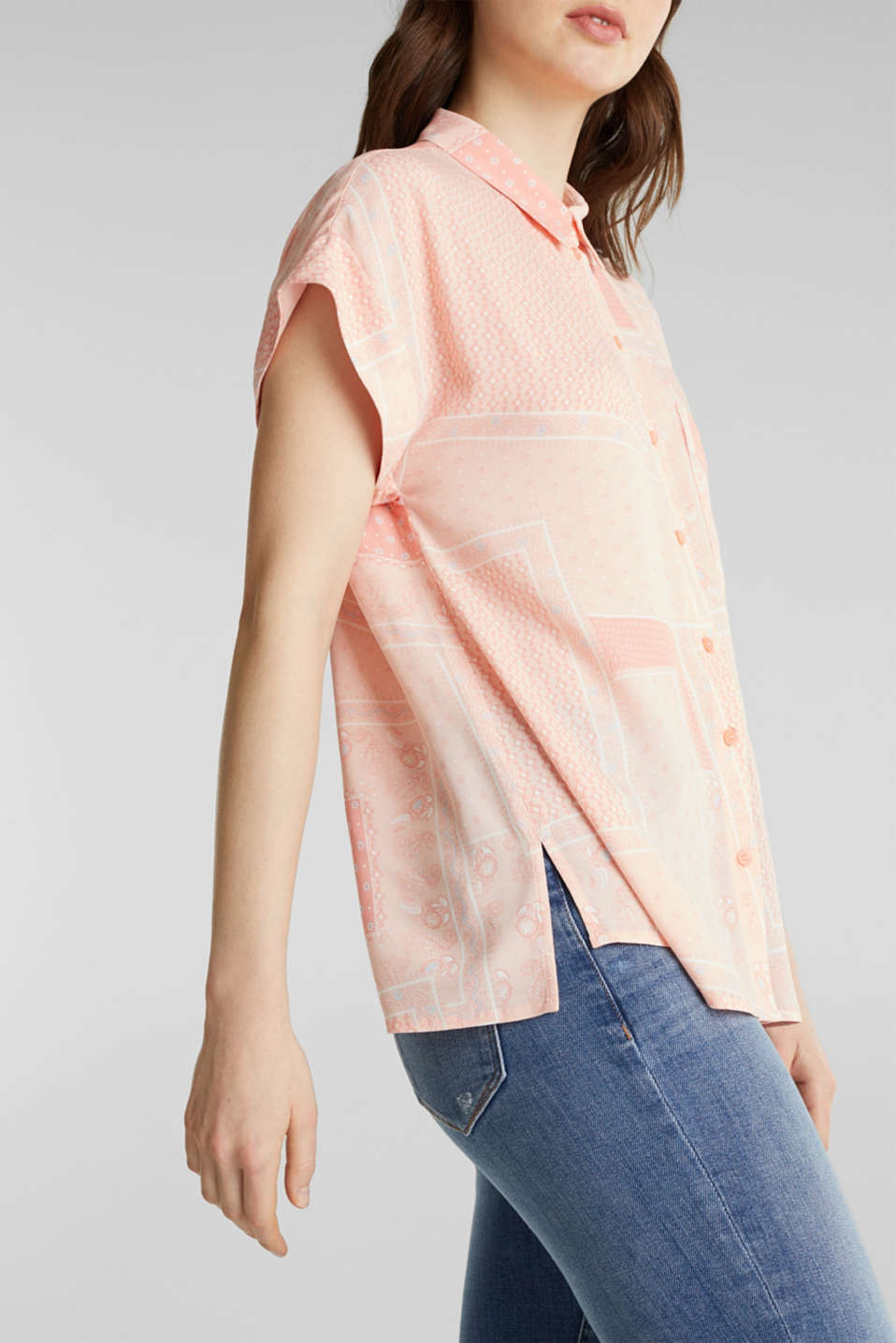 Blouse top in crêpe with a mixed pattern, PEACH 4, detail image number 2