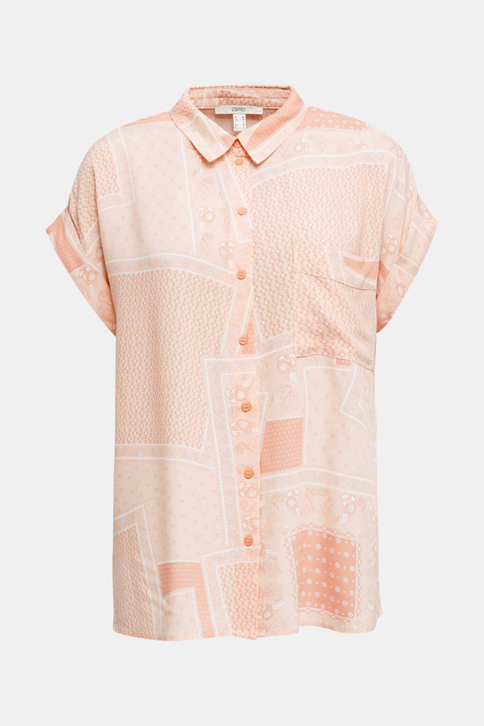 Blouse top in crêpe with a mixed pattern, PEACH 4, detail image number 7