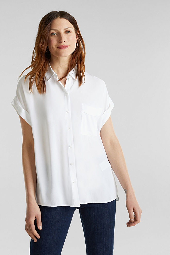Crêpe blouse top, WHITE, detail image number 0