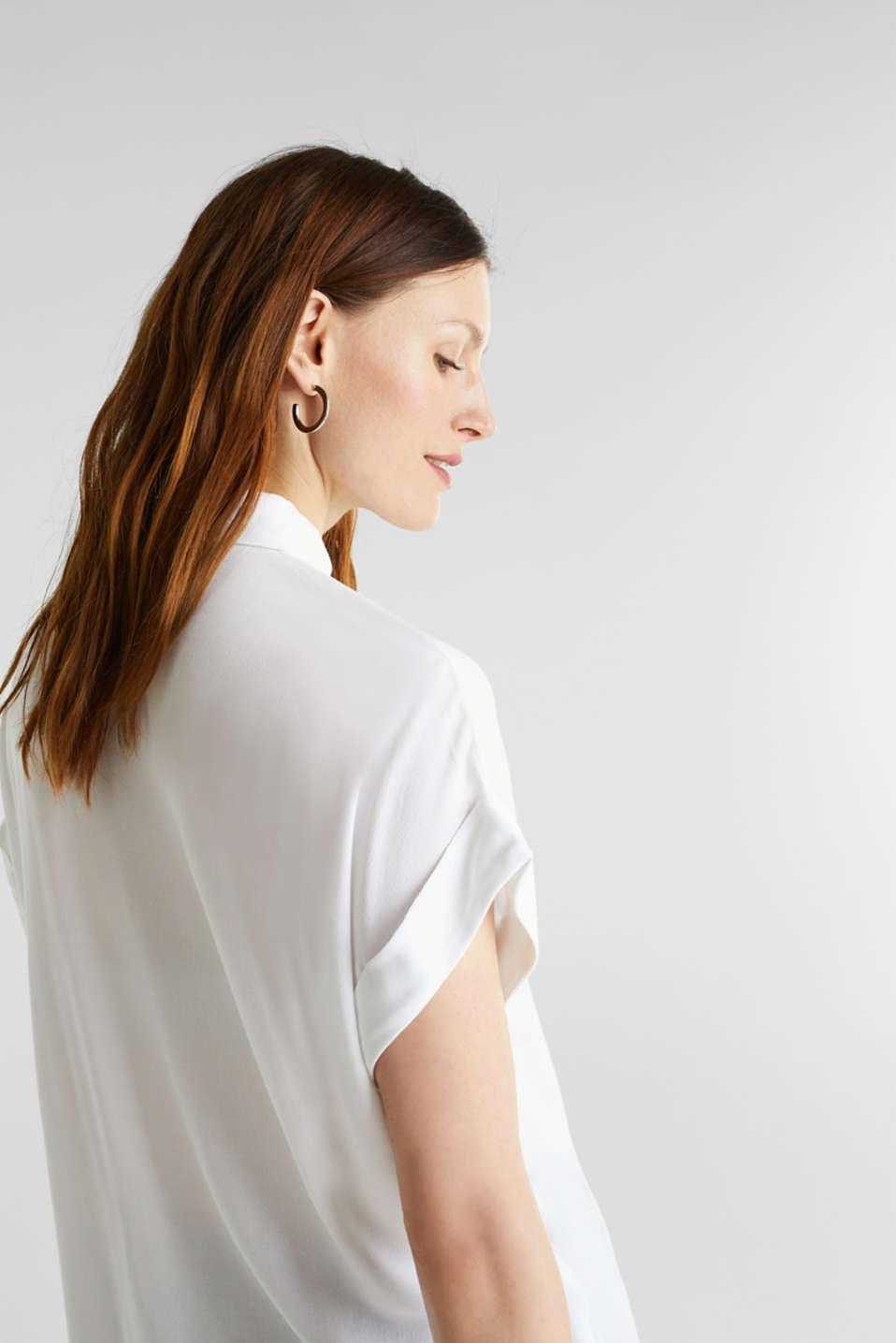 Crêpe blouse top, WHITE, detail image number 5