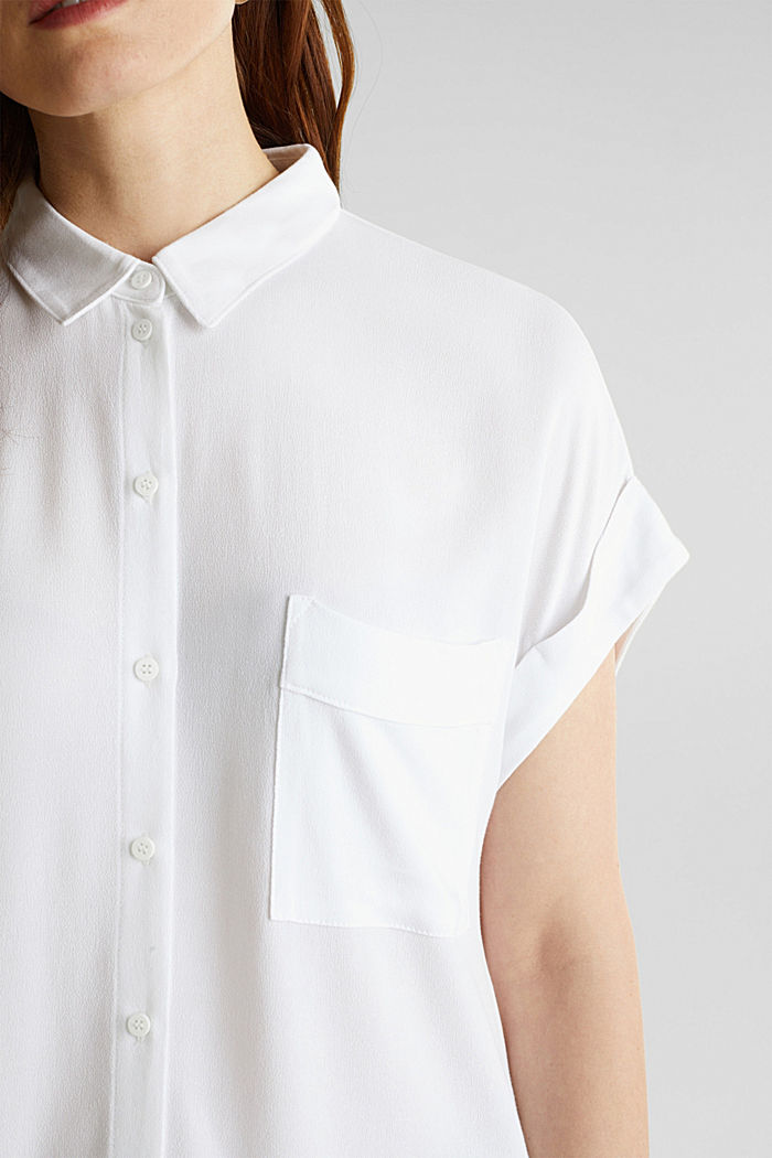Crêpe blouse top, WHITE, detail image number 1