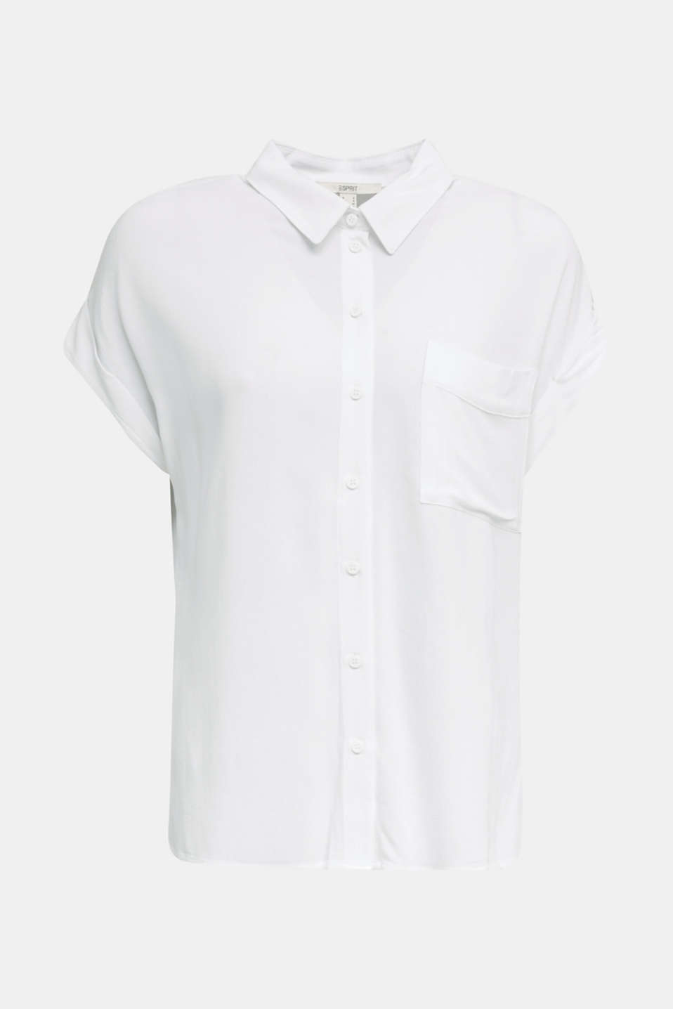 Crêpe blouse top, WHITE, detail image number 7
