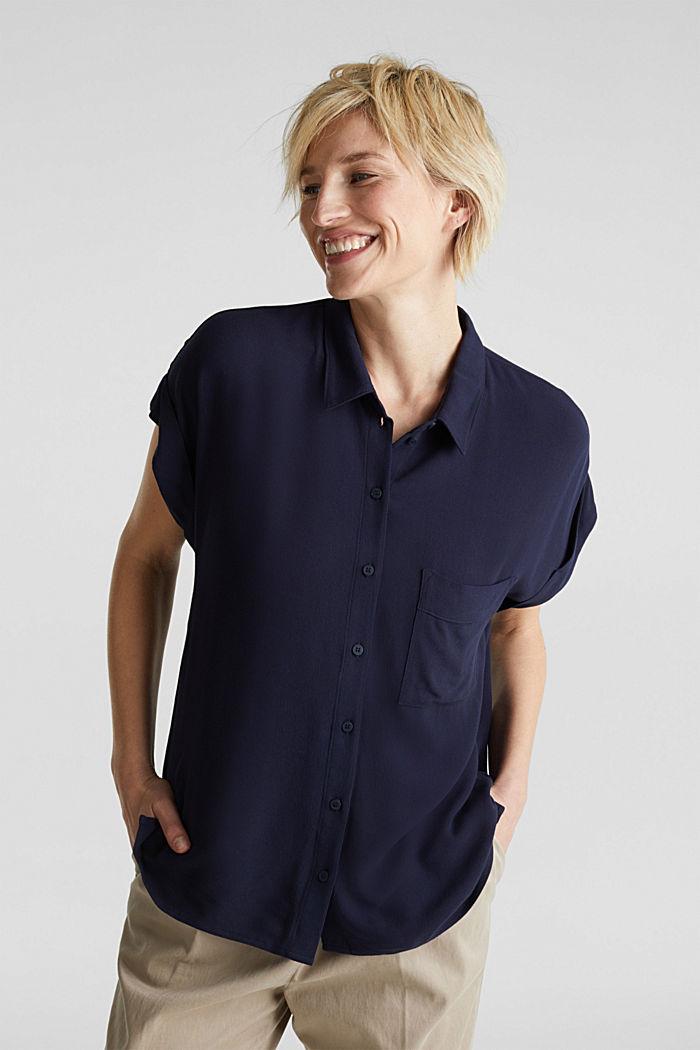 Top façon blouse en crêpe, NAVY, detail image number 0