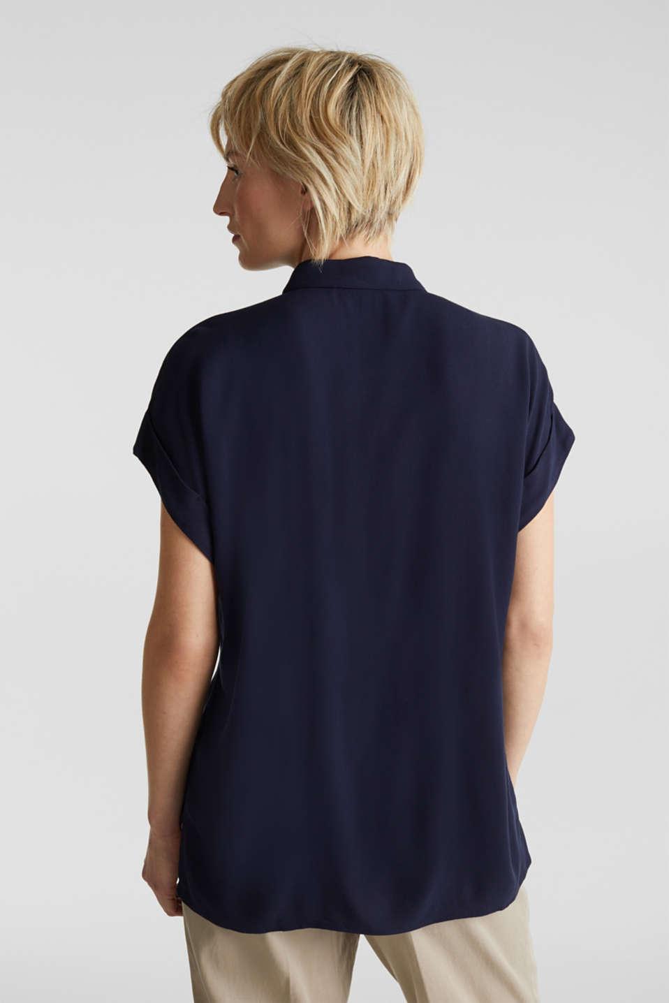 Crêpe blouse top, NAVY, detail image number 3