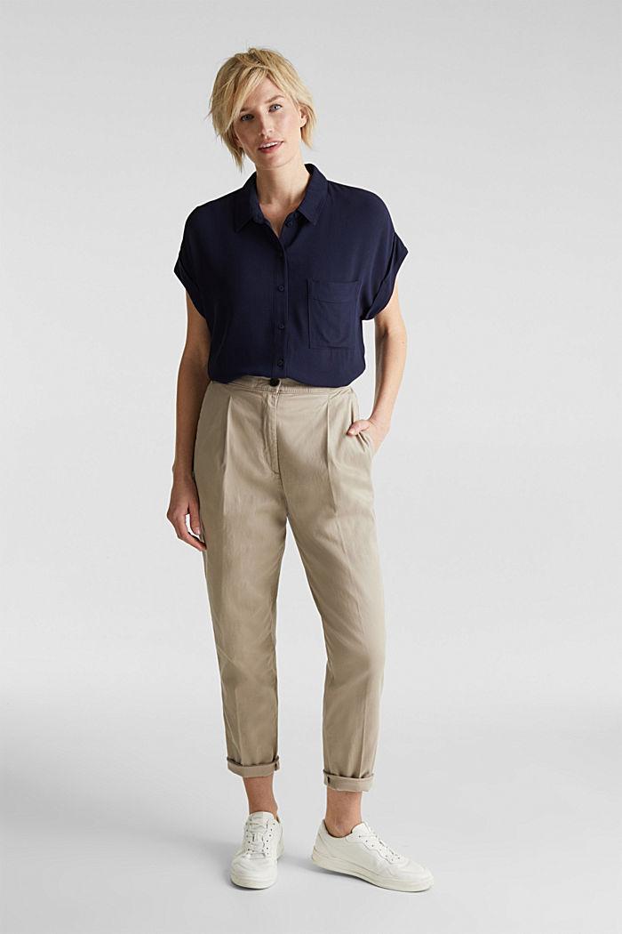 Top façon blouse en crêpe, NAVY, detail image number 1