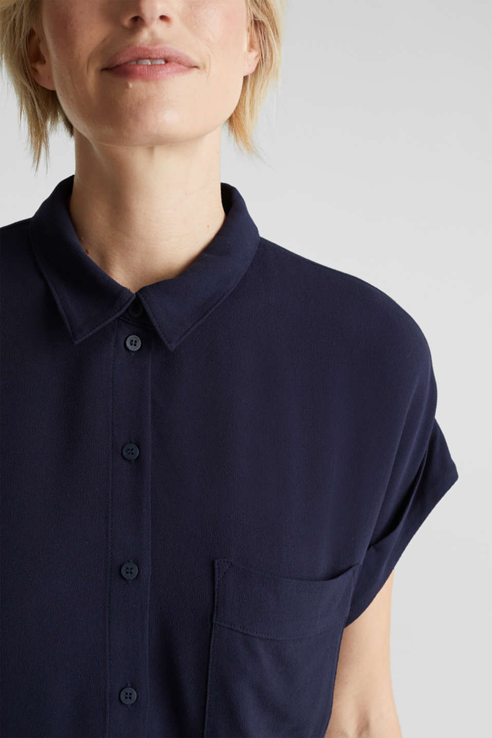 Crêpe blouse top, NAVY, detail image number 2