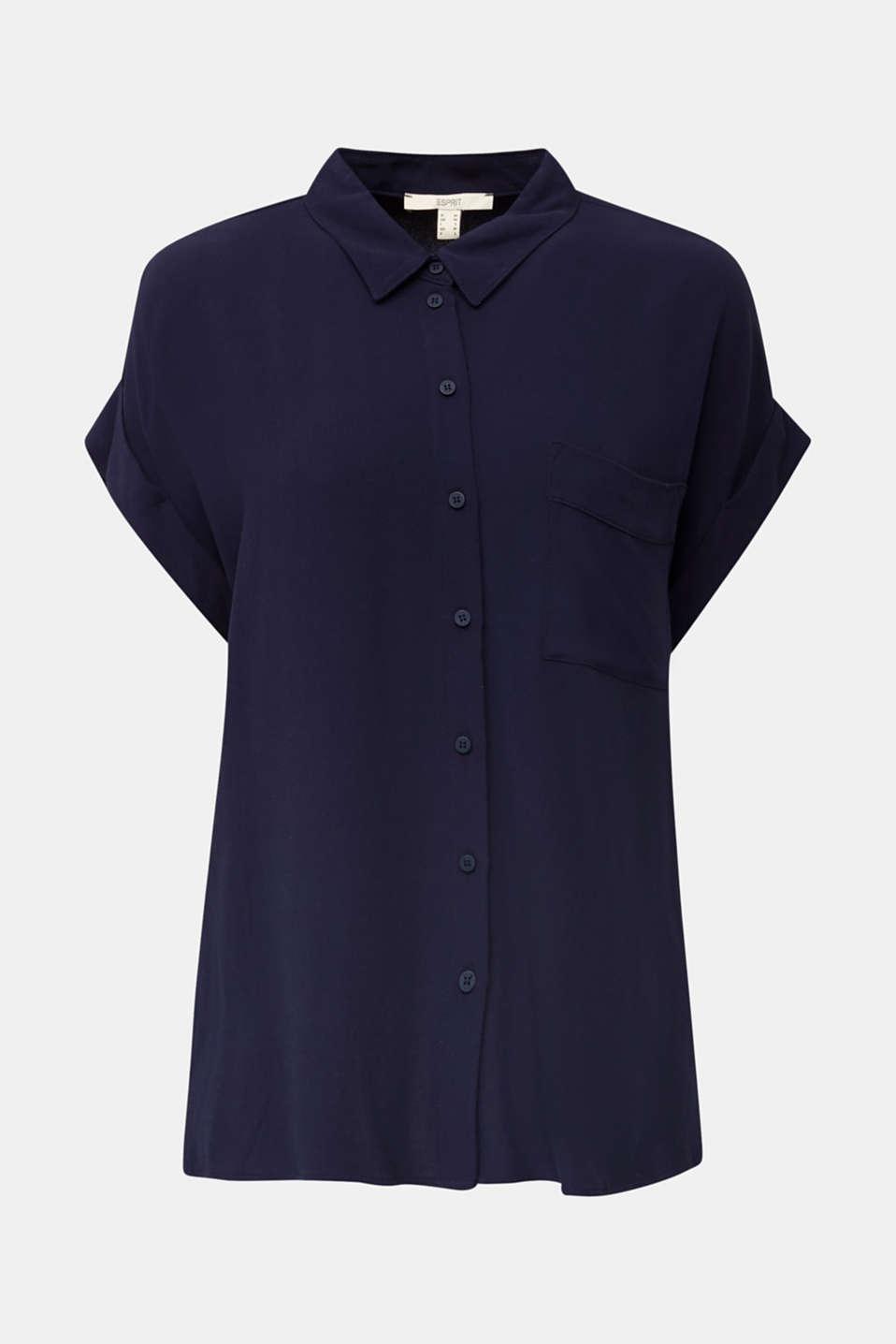 Crêpe blouse top, NAVY, detail image number 5